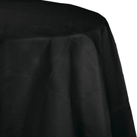 Poly Lined Tissue Round Tablecover - Black