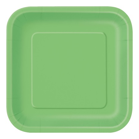 Lime Green Solid Square Dinner Plates