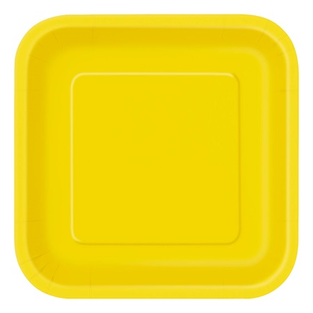 Sunflower Yellow Solid Square Dinner Plates