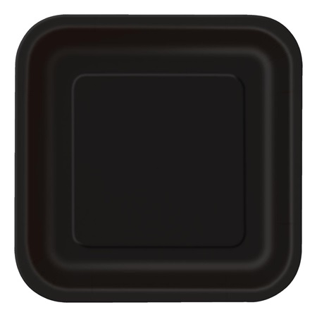 Midnight Black Solid Square Luncheon Plates