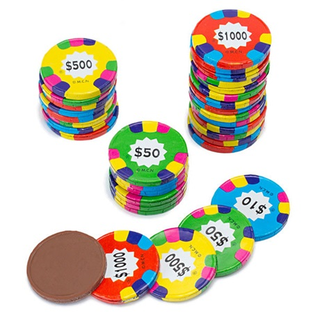 Milk Chocolate Poker Chips in Assorted Foil Wrapper