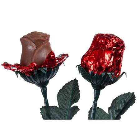 Milk Chocolate Roses in Red Foil Wrapper