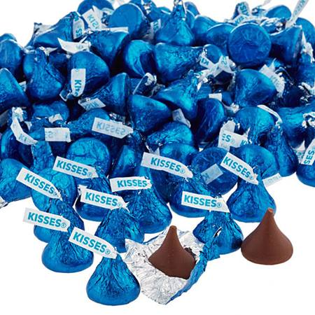 Chocolate Hershey's Kisses® with Dark Blue Foil Wrapper