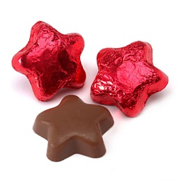 Milk Chocolate Stars with Bright Red Foil Wrapper