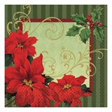 Vintage Poinsettia Dinner Napkins