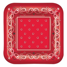Western Bandana Luncheon Square Plates