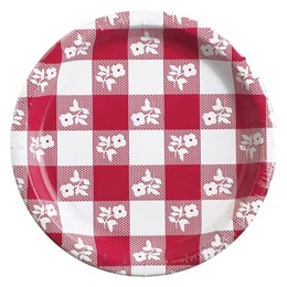 Red Gingham Luncheon Plate