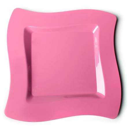 Bright Pink Wavy Square 6 ½ Inch Plastic Plates