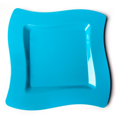 Caribbean Blue Wavy Square 6 ½ Inch Plastic Plates