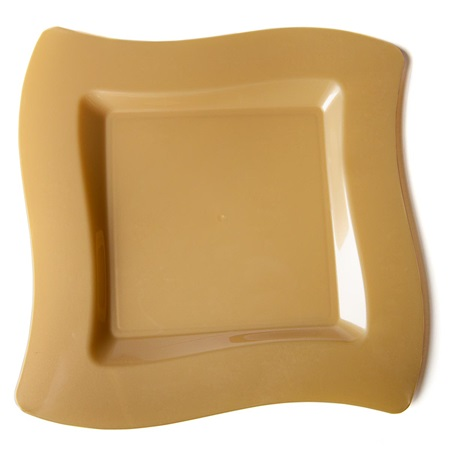 Gold Wavy Square 10 Inch Plastic Plates