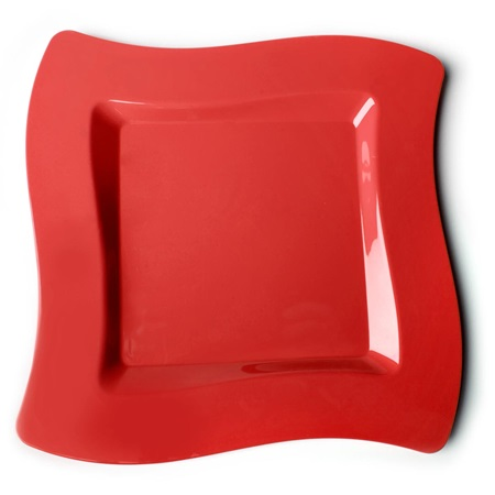 Apple Red Wavy Square 10 Inch Plastic Plates