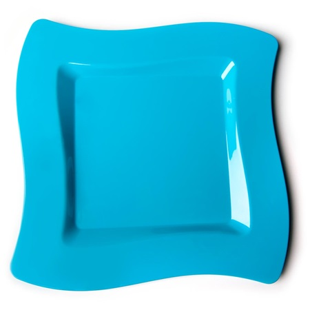 Caribbean Blue Wavy Square 10 Inch Plastic Plates
