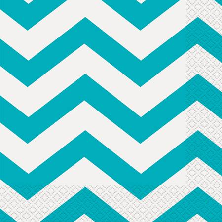 Teal Chevron Lunch Napkins