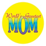 Worlds Greatest Mom Button - 2 1/4 in.