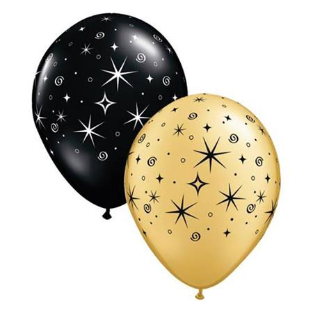 Gold and Black Sparkle Latex Balloons