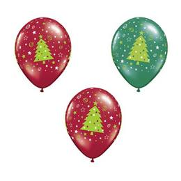 Swirls and Stars Christmas Tree Latex Balloons - 100 per Pkg.