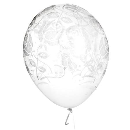 Clear Glitter Rose Latex Balloons