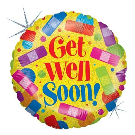 Get Well Soon Metallic Balloon