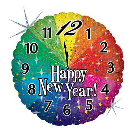 Happy New Year Metallic Balloon - Round with Clock