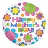 Happy Mother's Day Metallic Balloon - Round with Retro Daisies