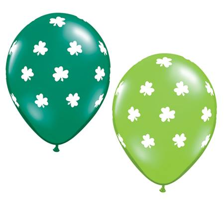 Shamrocks on Green Latex Balloons