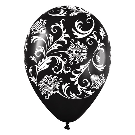 Metallic Black Damask Latex Balloons, 50/pkg