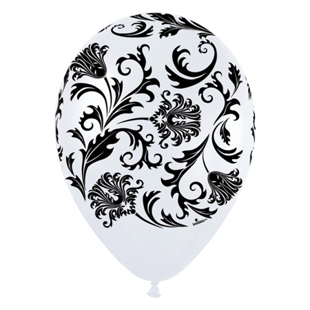 Pearl White Damask Latex Balloons, 50/pkg