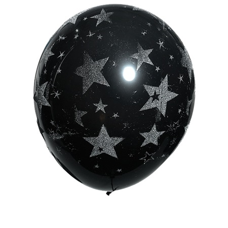Glitter Stars on Black Latex Balloons, 25/pkg