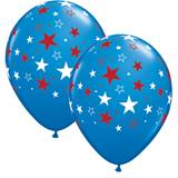 Red and White Stars on Blue Latex Balloons