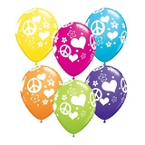 Peace Signs & Hearts Latex Balloons