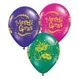 Mardi Gras Mask and Beads  Latex Balloons
