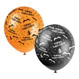 Bats & Witches Latex Balloons, 12 in.