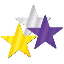 Foil Laminated Star Cut-Outs - 12 in. 3/pkg.
