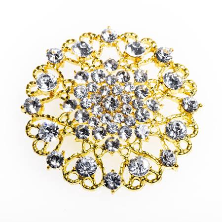 Rhinestone Gold Brooch Fabric Tieback Set
