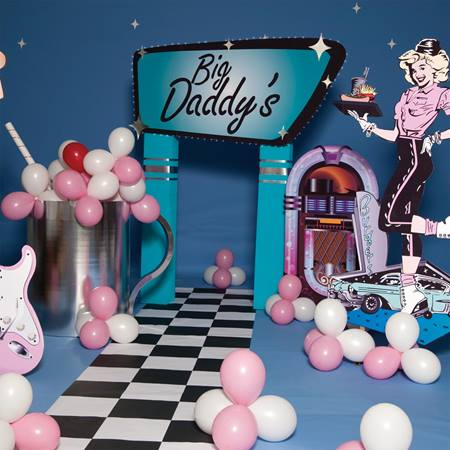 Big daddy 39 s malt shop complete theme m n party store for Decoration 50 s theme