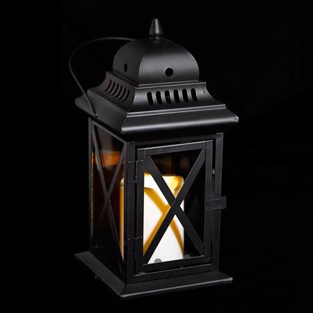 Black Metal Lantern with Candle