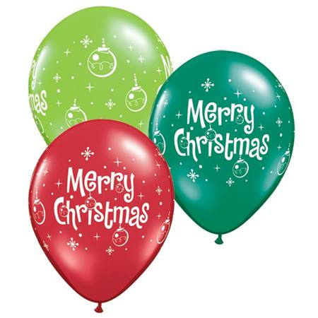 Merry Christmas Ornament Latex Balloons