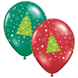 Swirls and Stars Christmas Tree Latex Balloons - 50 per Pkg.