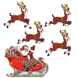 Vintage Christmas Santa and Reindeer Cutouts