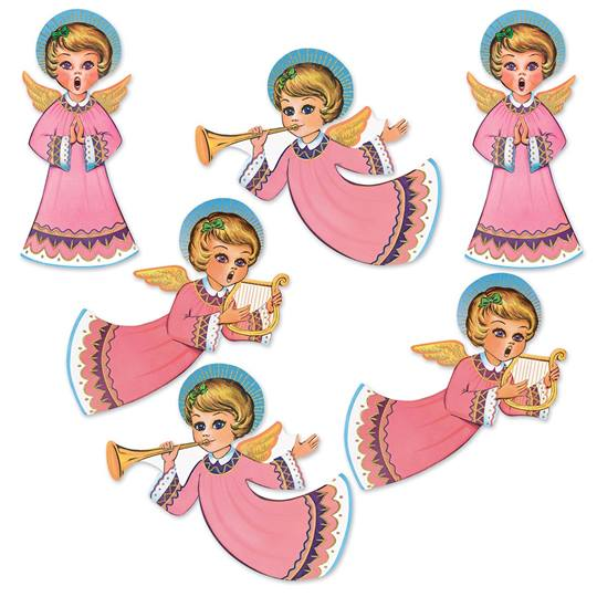 Christmas Cutouts.Vintage Christmas Glittered Angel Cutouts M N Party Store