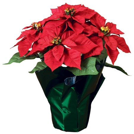 Potted Polyester Poinsettia Plant