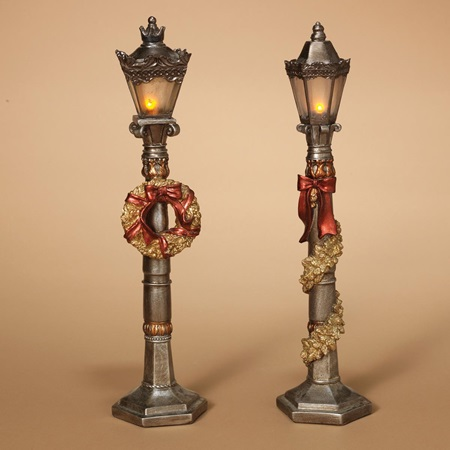 Lighted Silver Holiday Lamppost