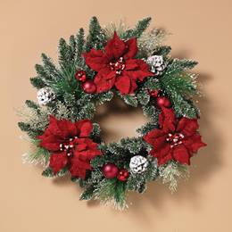Poinsettia Wreath with Ornaments and Pinecones