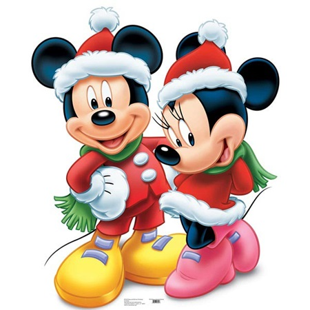 Mickey & Minnie Mouse Christmas Stand-Up