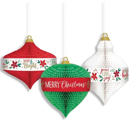 Hanging Honeycomb Christmas Ornaments Set