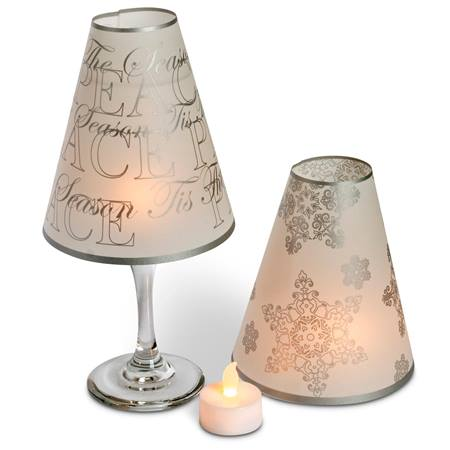 Silver Metallic Wine Glass Shade Set with Tea Lights