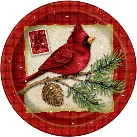Christmas Cardinals Luncheon Plates