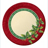 "Festive Greenery 7"" Lunch Plates"