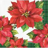 Holiday Poinsettia Beverage Napkins