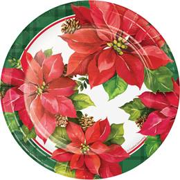 Holiday Poinsettia Luncheon Plates